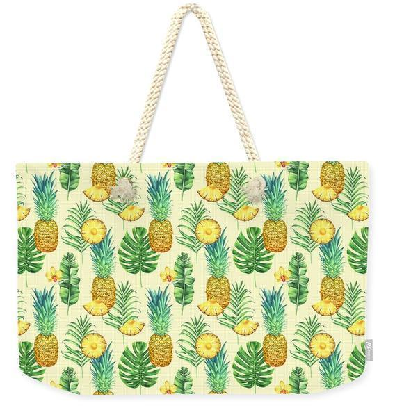 Pineapple Galore Weekender Tote Bag-Cotton rope-Coastal Passion