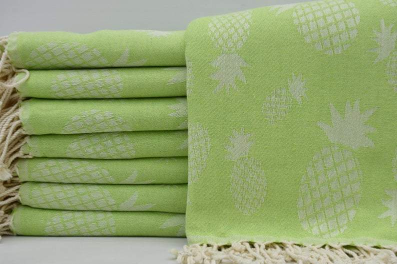 100% Cotton Turkish Towel-Pineapple Green 100% Cotton Towel-Coastal Passion