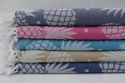 100% Cotton Turkish Towel-Pineapple Navy Blue 100% Cotton Towel-Coastal Passion