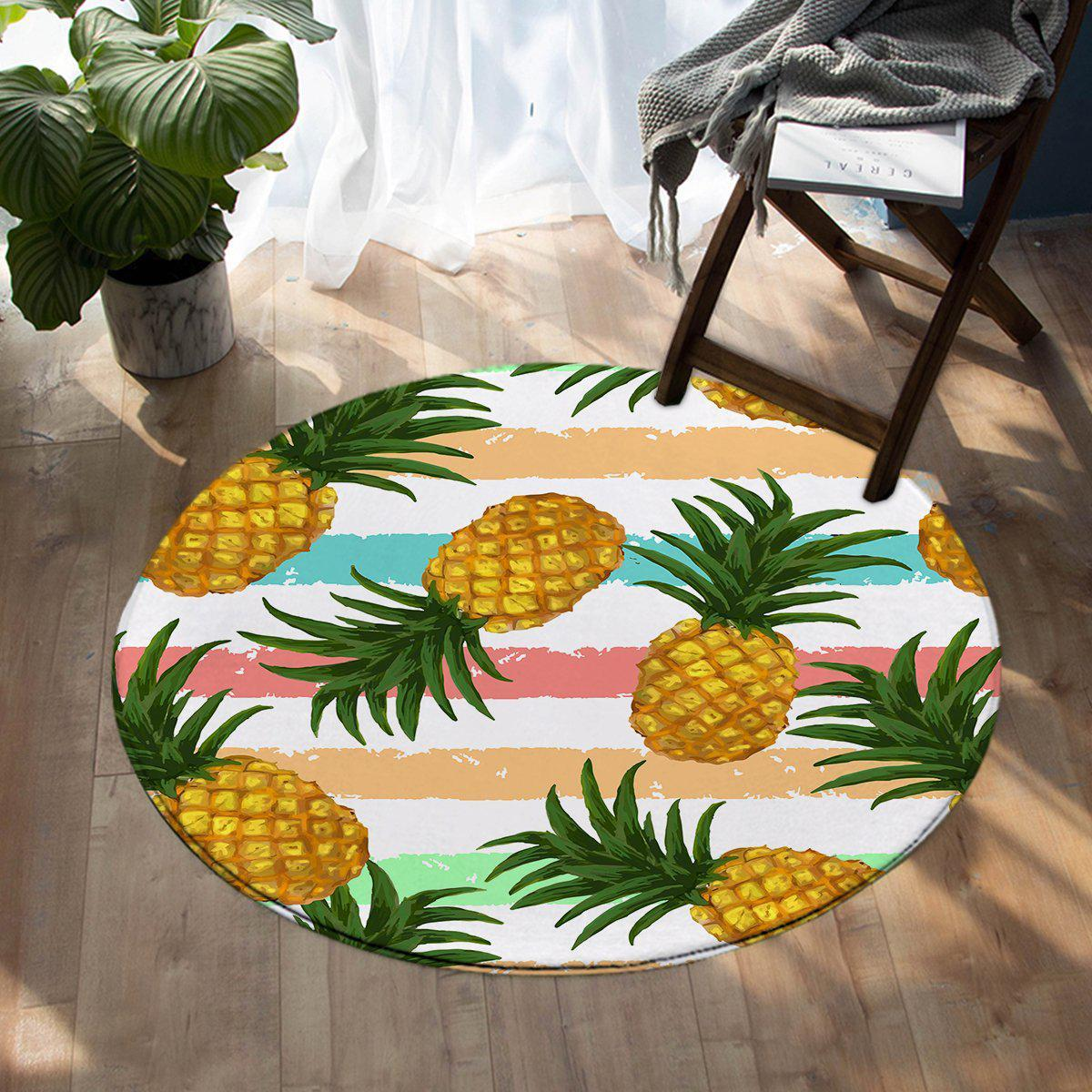 -Pineapple Party Round Area Rug-Coastal Passion