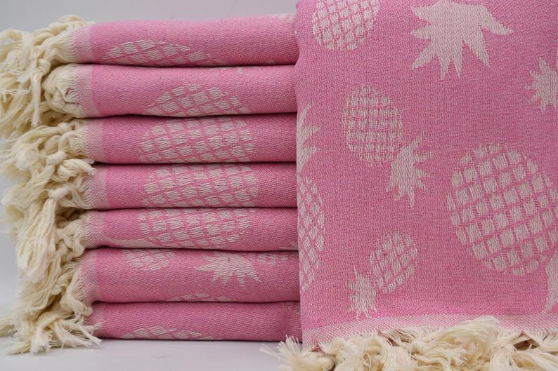 100% Cotton Turkish Towel-Pineapple Pink 100% Cotton Towel-Coastal Passion
