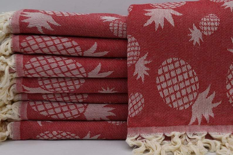 100% Cotton Turkish Towel-Pineapple Red 100% Cotton Towel-Coastal Passion