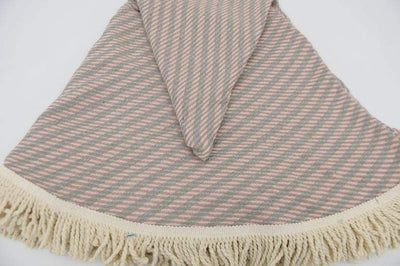 100% Cotton Turkish Towel-Pink, Beige and Gray 100% Cotton Round Beach Towel-Coastal Passion