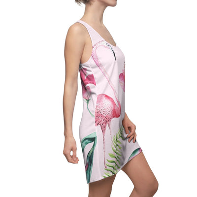 Pink Flamingo & Hibiscus Dress-All Over Prints-Coastal Passion