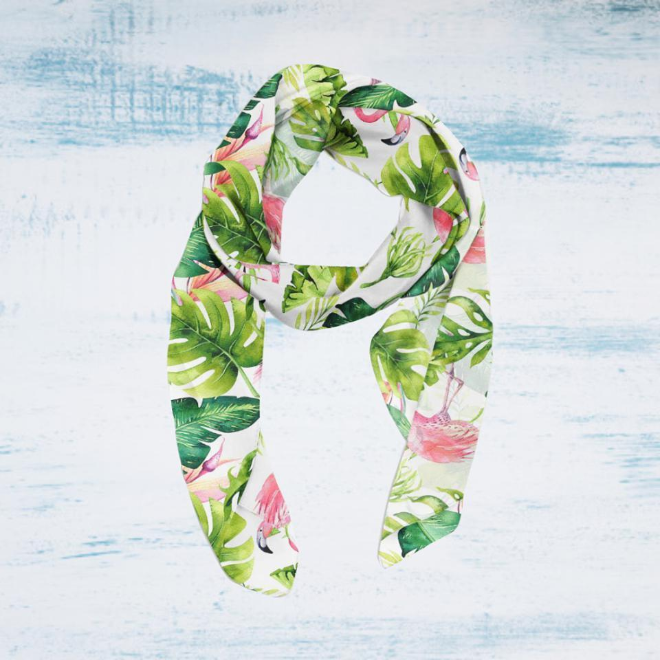 Pink Flamingos Soft Silky Scarf--Coastal Passion