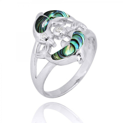 Ring-Playing Sterling Silver Dolphins Ring with Abalone Shell and White CZ-Coastal Passion