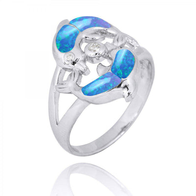 Ring-Playing Sterling Silver Dolphins Ring with Blue Opal and White CZ-Coastal Passion