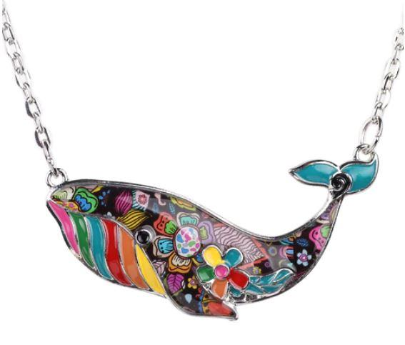 Prince of Whales - Enamel Pendant Necklace-Coastal Passion