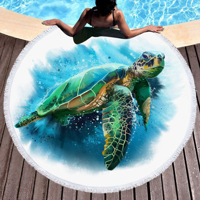 Round Beach Towel-Queen of the Ocean Round Beach Towel-Coastal Passion