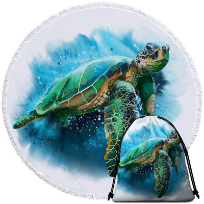 Round Beach Towel-Queen of the Ocean Towel + Backpack-Coastal Passion