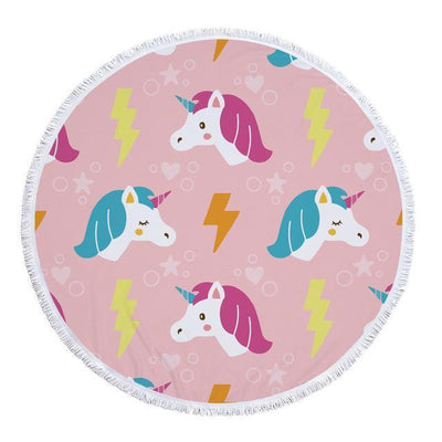 Romantic Unicorn Collection - Baby Size 100 cm-Round Beach Towel-Unicorn Circle-Coastal Passion