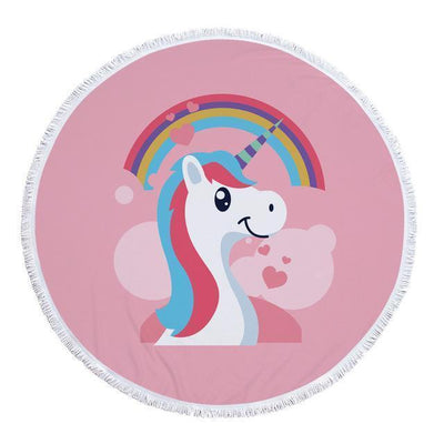 Romantic Unicorn Collection - Baby Size 100 cm-Round Beach Towel-Rainbow Unicorn-Coastal Passion