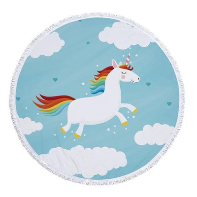 Romantic Unicorn Collection - Baby Size 100 cm-Round Beach Towel-Flying Unicorn-Coastal Passion