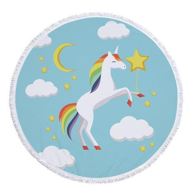 Romantic Unicorn Collection - Baby Size 100 cm-Round Beach Towel-Unicorn in the Sky-Coastal Passion