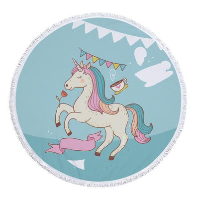 Romantic Unicorn Collection - Baby Size 100 cm-Round Beach Towel-Unicorn Party-Coastal Passion