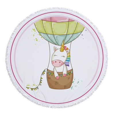 Romantic Unicorn Collection - Baby Size 100 cm-Round Beach Towel-Unicorn on a Ballon-Coastal Passion