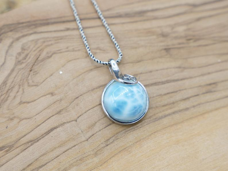 -Round Larimar Pendant with Silver Swirl - Only One Piece Created-Coastal Passion