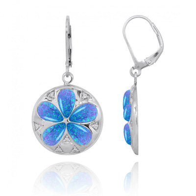 Earrings-Sand Dollar Lever Back Earrings with Blue Opal and White CZ-Coastal Passion