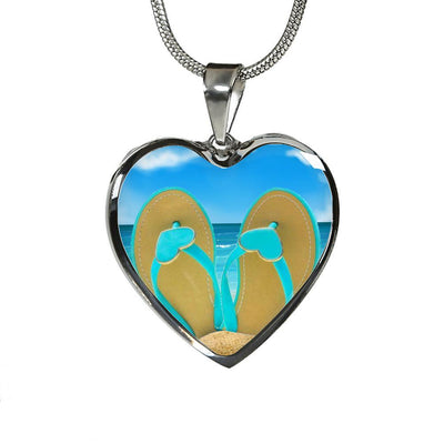 Sandy Feet Heart Necklace-Jewelry-Luxury Necklace (Silver)-Coastal Passion