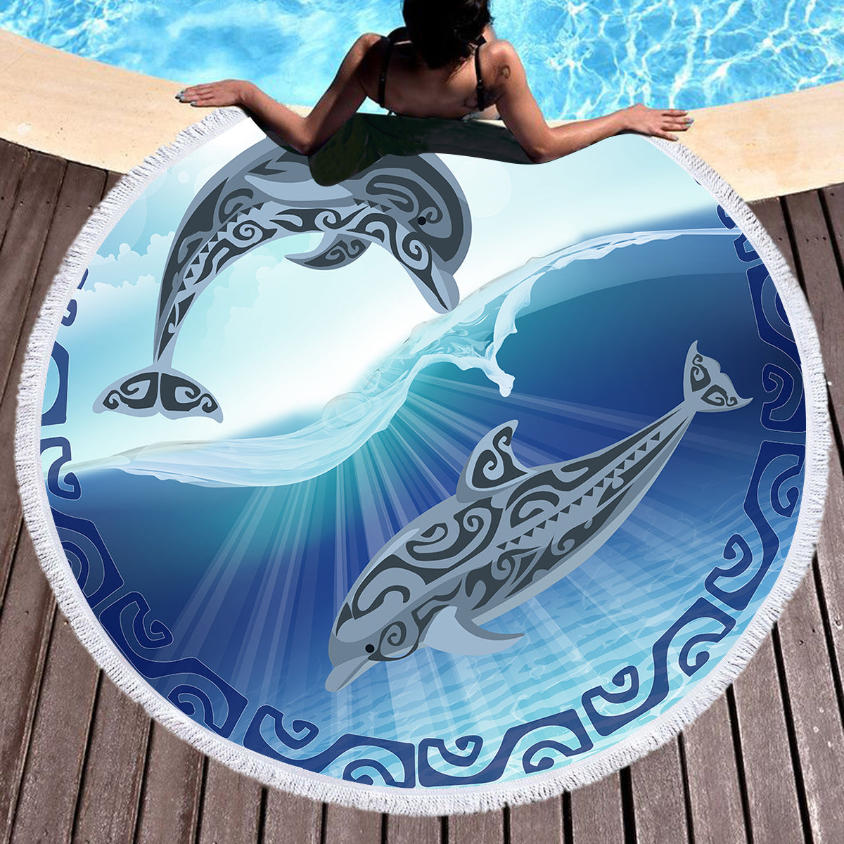 Polynesian Passion Round Beach Towel