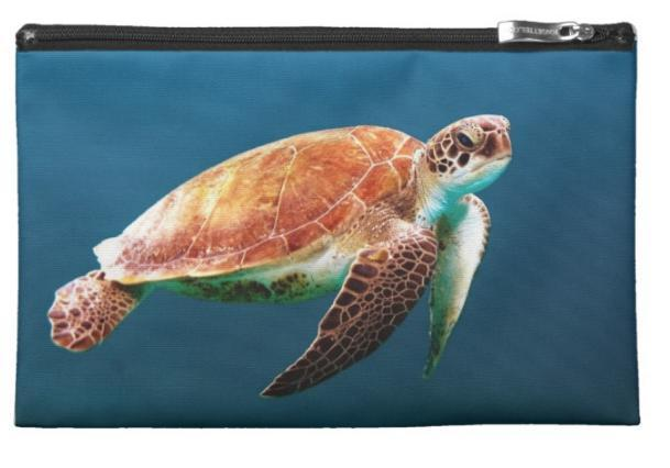"Sea Turtle 2 Carry-All Pouch-8.5"" x 6""-Natural-Coastal Passion"
