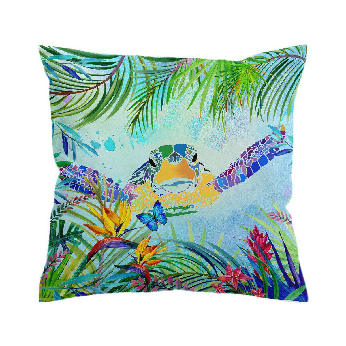 Sea Turtle and Butterfly Pillow Cover-Coastal Passion