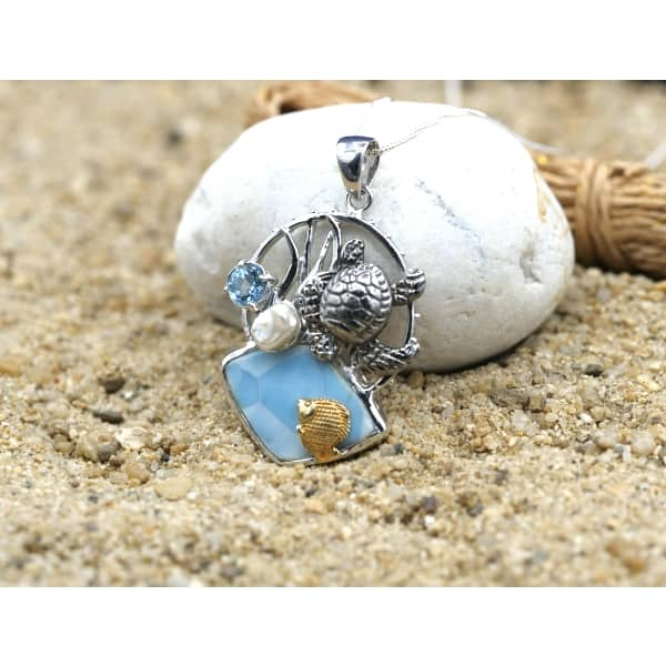 -Sea Turtle and Fish with Larimar, Blue Topaz and Pearl Beach Pendant - Only One Piece Created-Coastal Passion