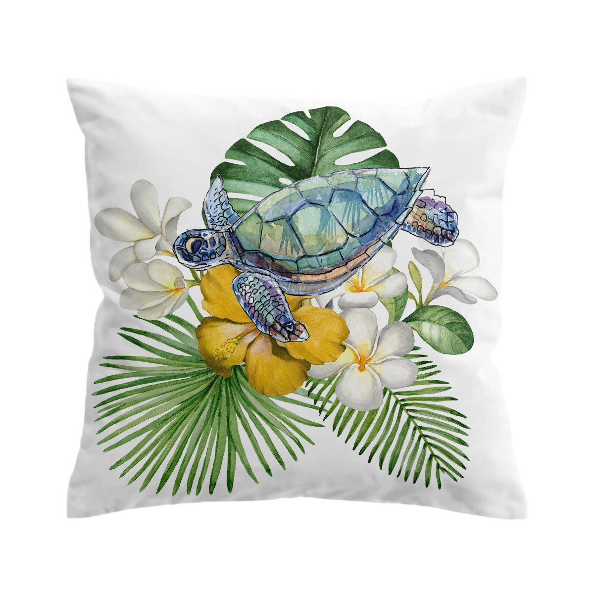 Sea Turtle and Flowers Pillow Cover-Coastal Passion