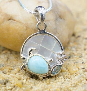 Sea Turtle and Hibiscus Pendant Necklace with Larimar Stone, Blue Topaz and Mother of Pearl Mosaic