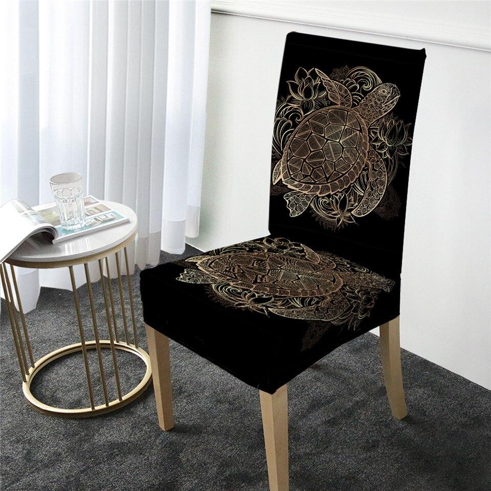 Golden Sea Turtle and Lotus Chair Cover-Coastal Passion