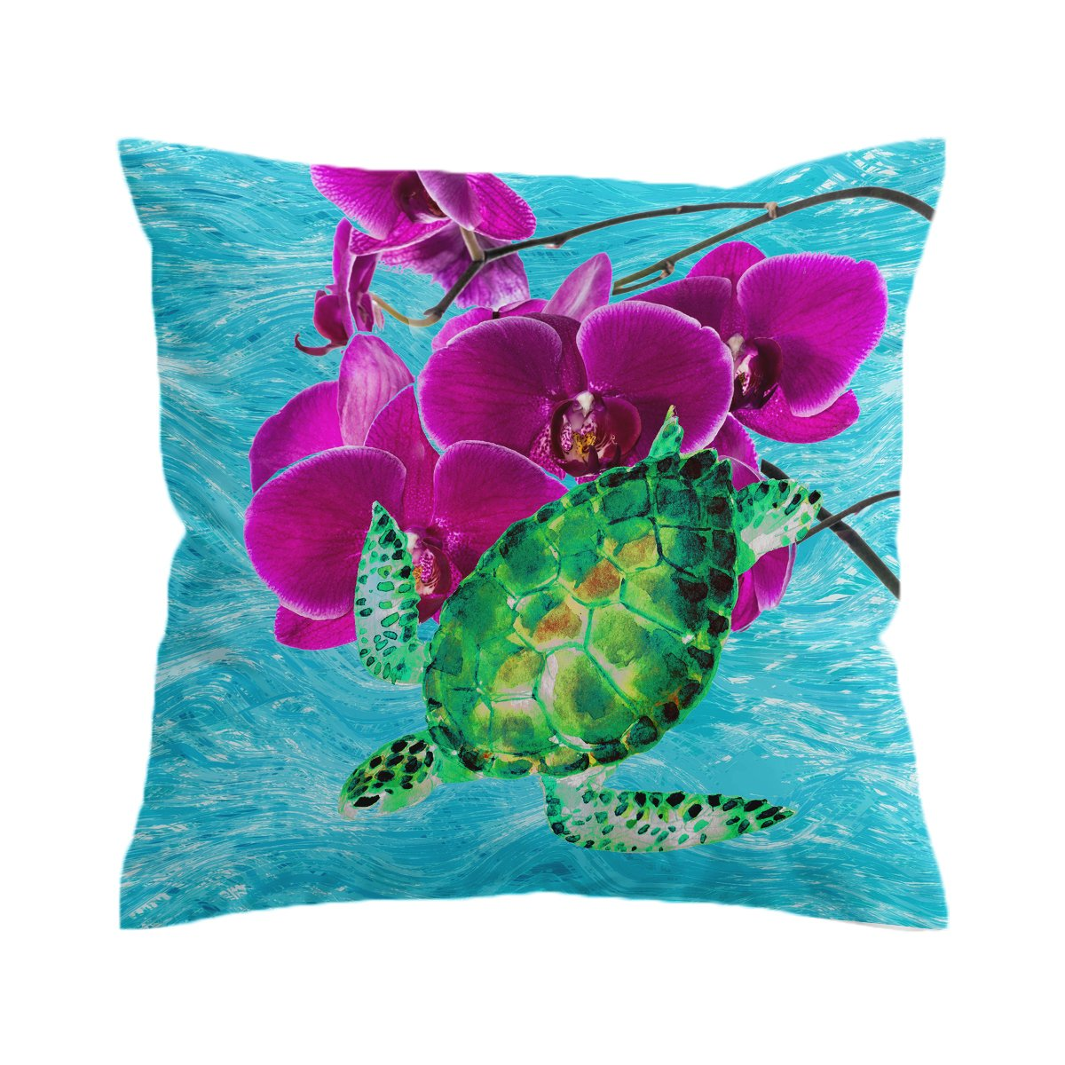 Sea Turtle and Orchids Pillow Cover