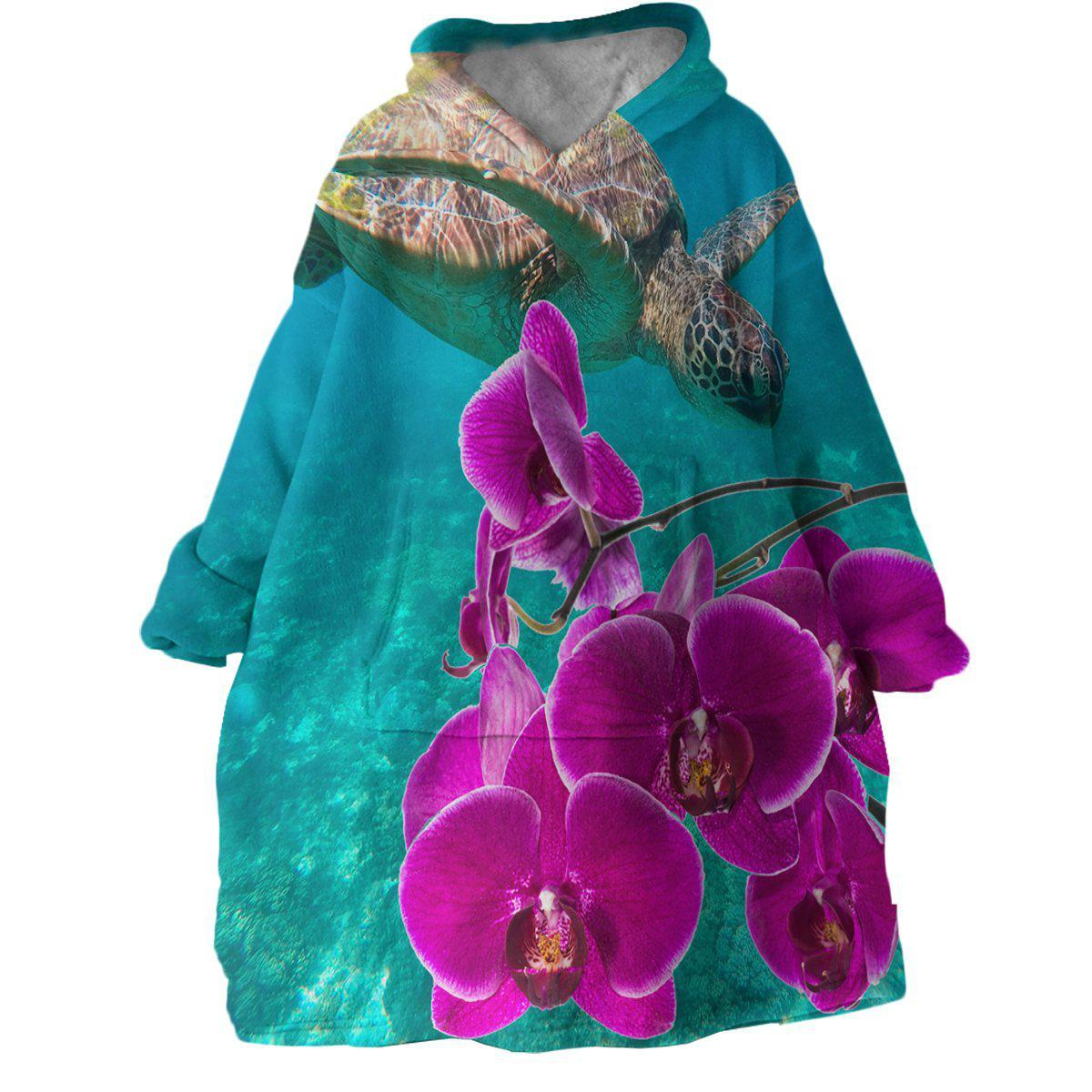 Sea Turtle and Orchids Wearable Blanket Hoodie-Coastal Passion