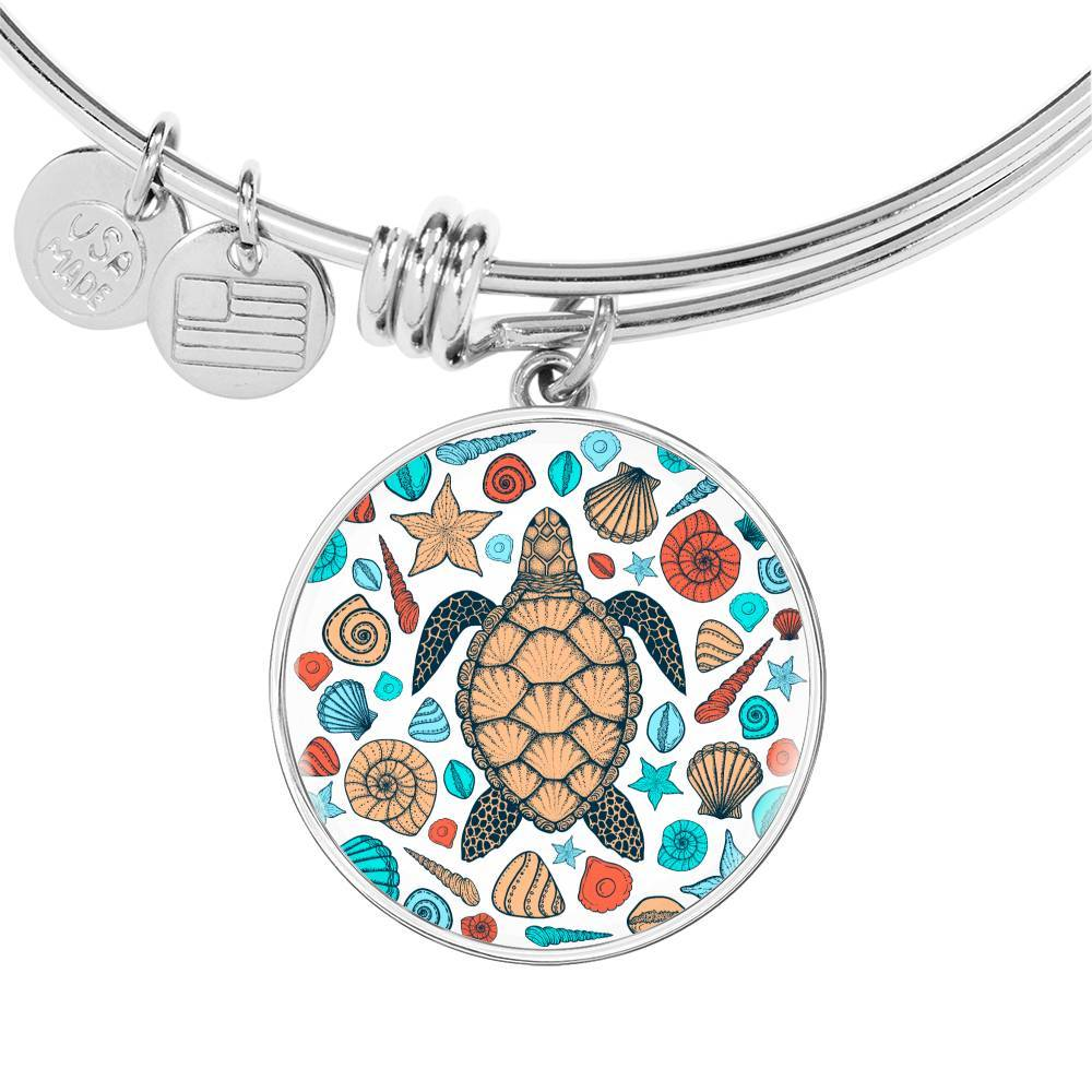 Sea Turtle and Seashells Bangle Bracelet