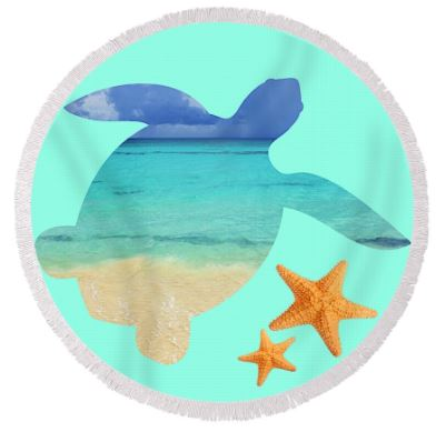 -Sea Turtle Bay Round Beach Towel-Coastal Passion