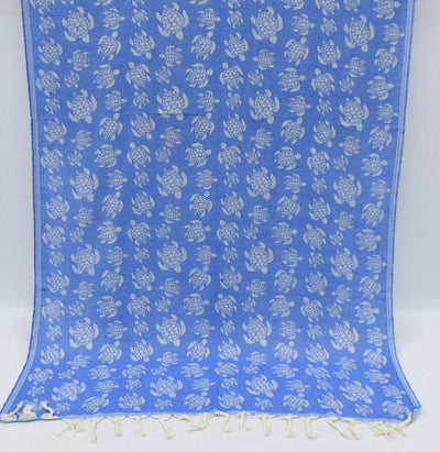 100% Cotton Turkish Towel-Sea Turtle Blue 100% Cotton Towel-Coastal Passion