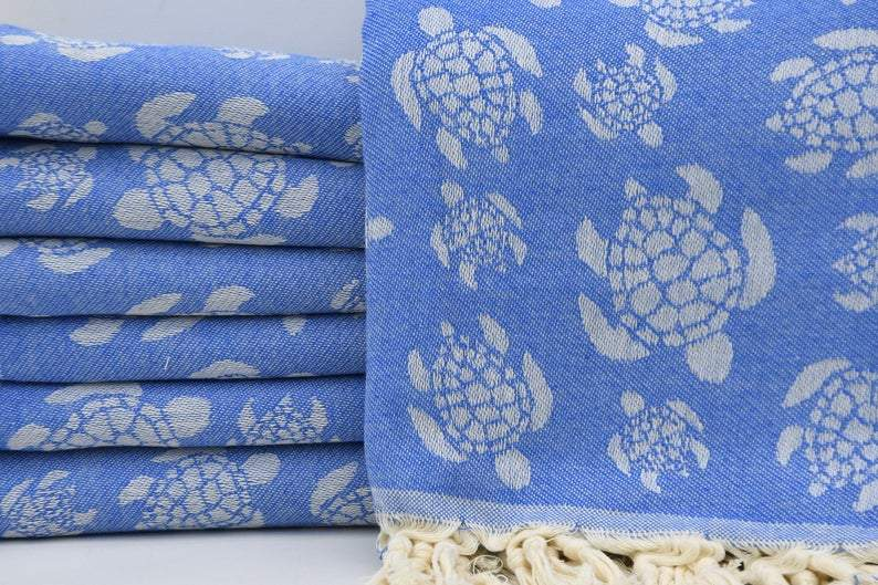 Sea Turtle Blue 100% Cotton Towel
