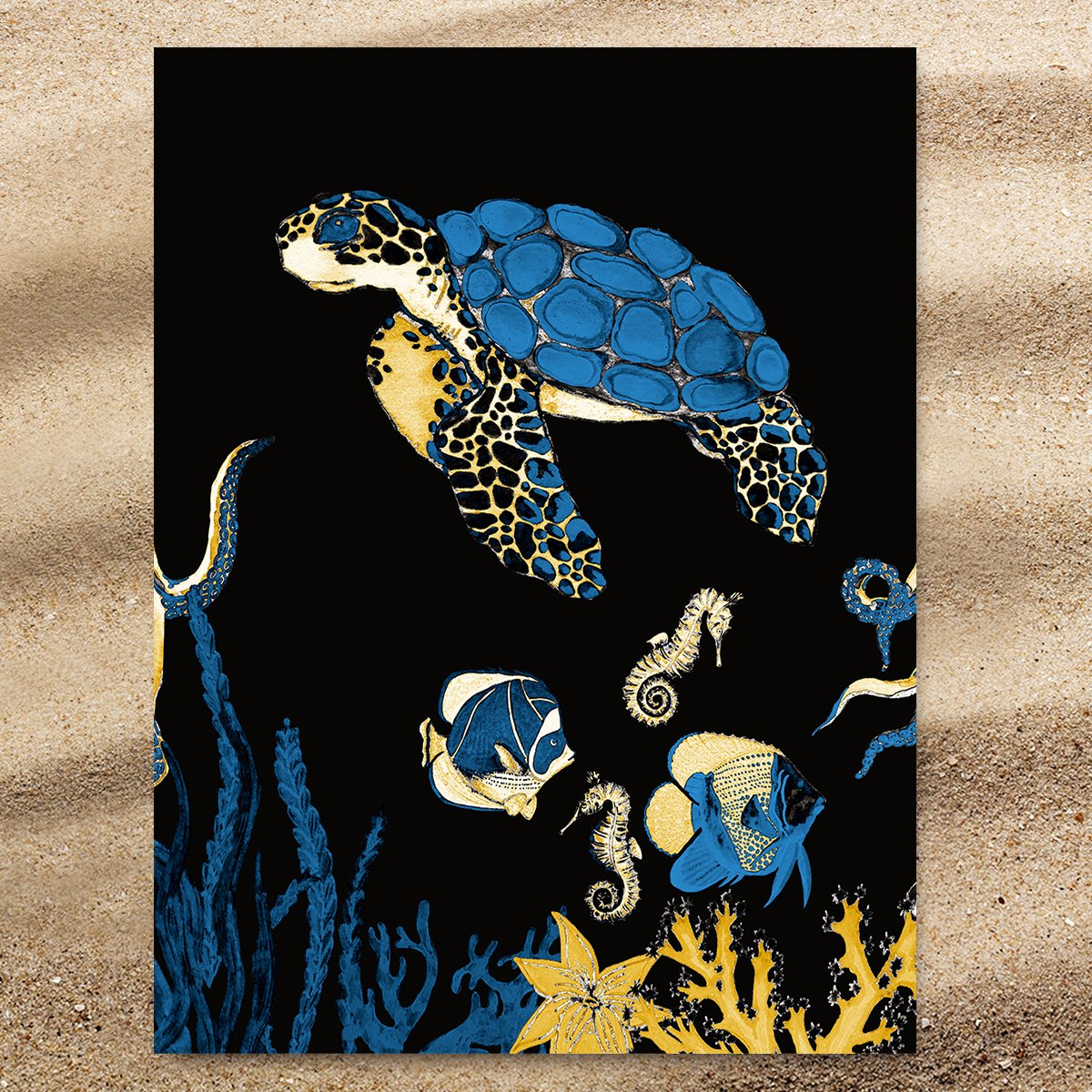 Sea Turtle Blues Extra Large Towel-Coastal Passion