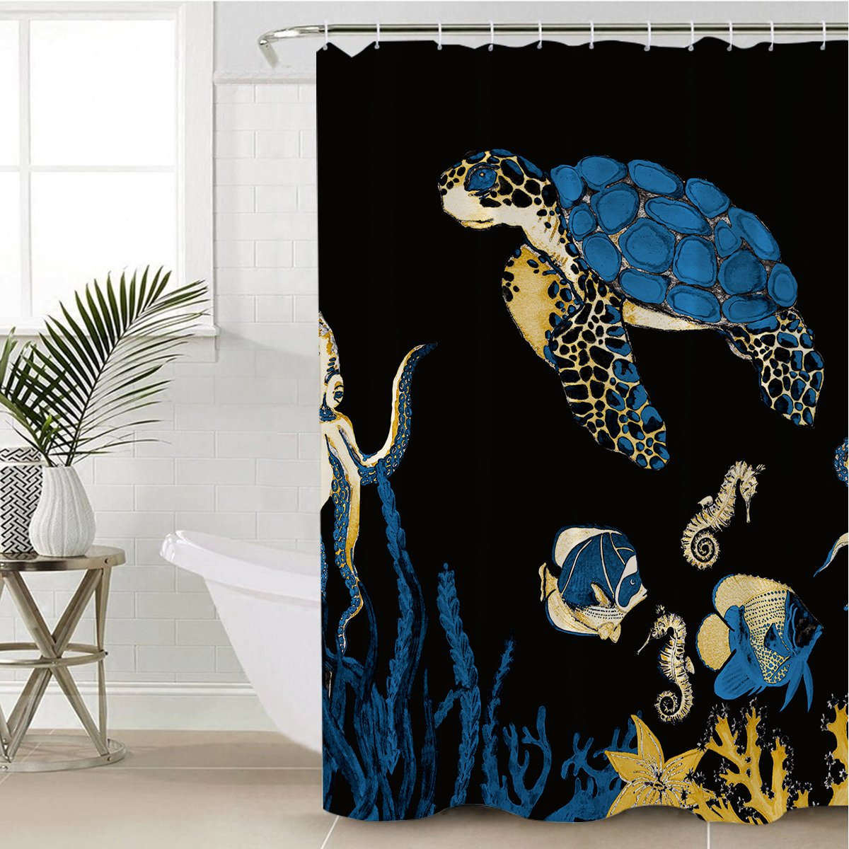 Sea Turtle Blues Shower Curtain-Coastal Passion