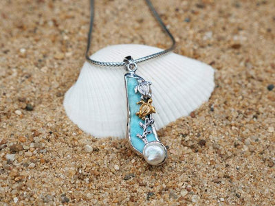 -Sea Turtle Couple and Pearl Beach Pendant - Only One Piece Created-Coastal Passion
