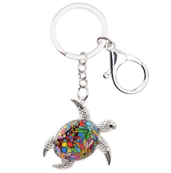 Sea Turtle Delight - Enamel Pendant Key Ring-Coastal Passion