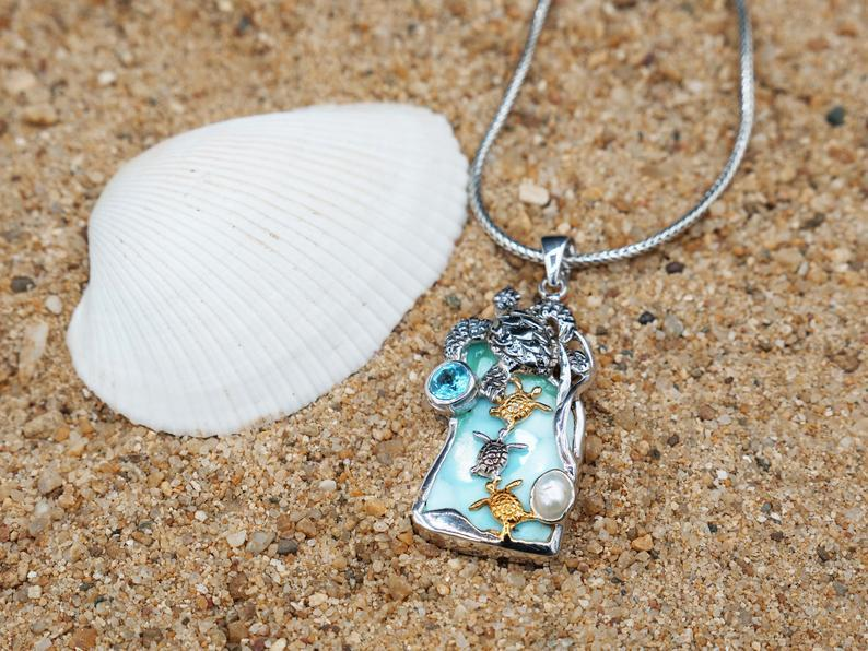 -Sea Turtle Family with Larimar, Blue Topaz and Pearl Beach Pendant - Only One Piece Created-Coastal Passion
