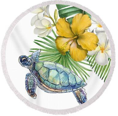 Sea Turtle & Flowers Round Beach Towel