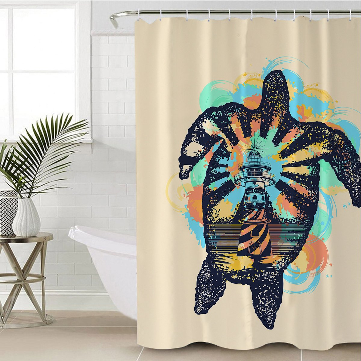 Sea Turtle Lighthouse Shower Curtain-Coastal Passion