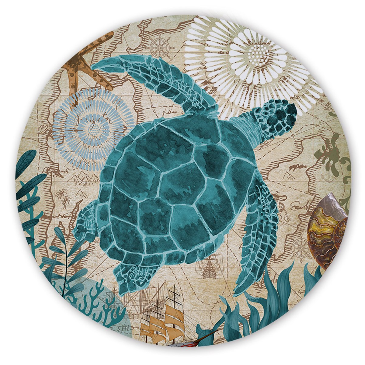 Sea Turtle Love Round Sand-Free Towel