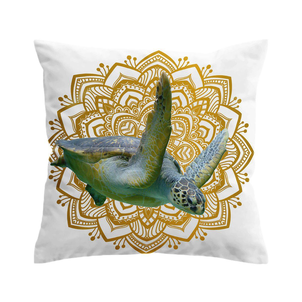 Sea Turtle Mandala Pillow Cover-Coastal Passion