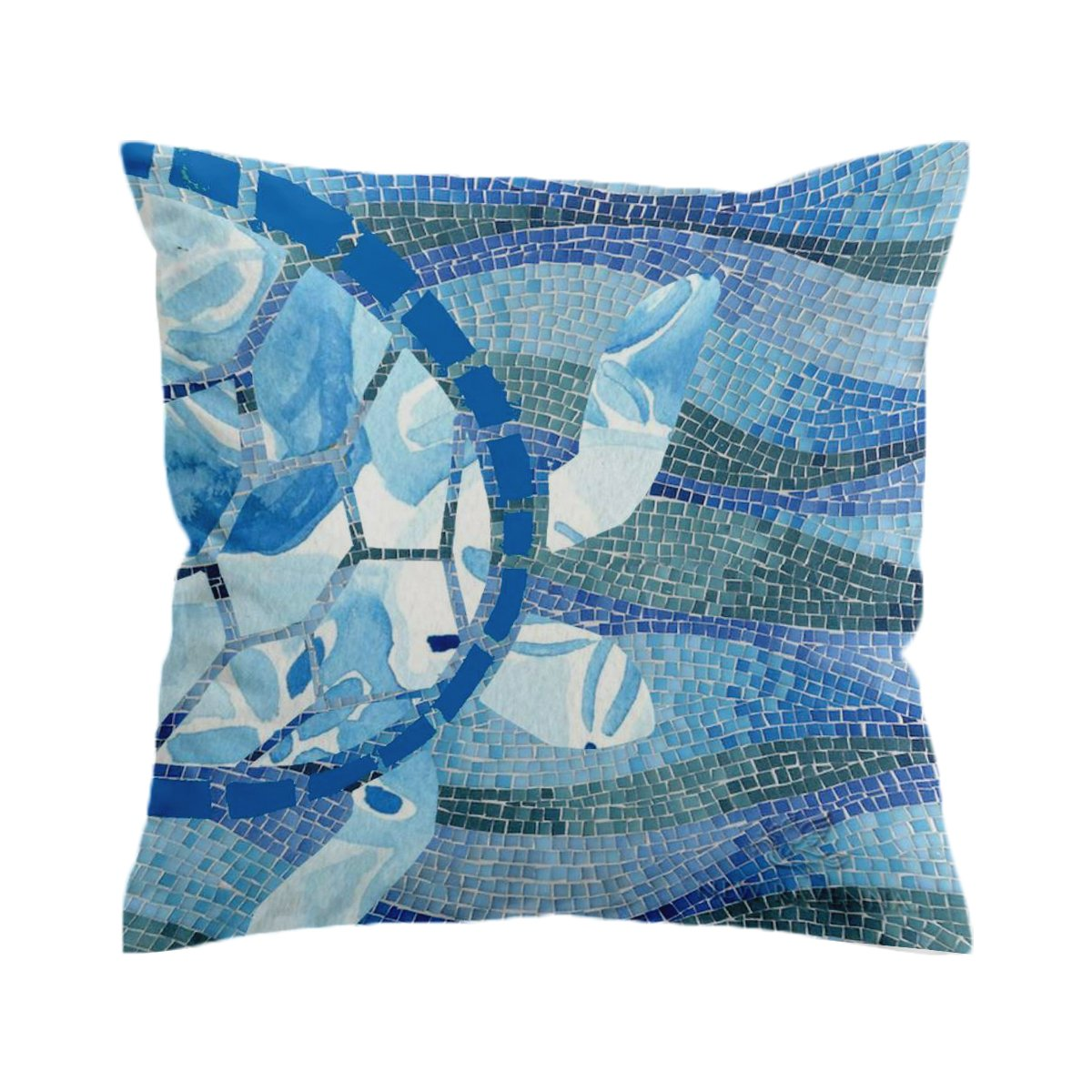 Sea Turtle Mosaic Pillow Cover-Coastal Passion