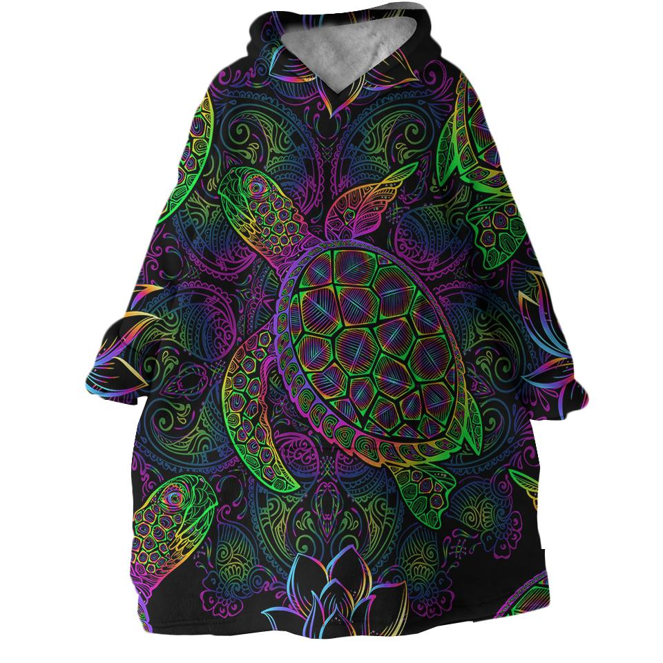 Sea Turtle Mysteries Wearable Blanket Hoodie-Coastal Passion