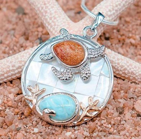 Sea Turtle Necklace with Larimar, Coral and Mother of Pearl