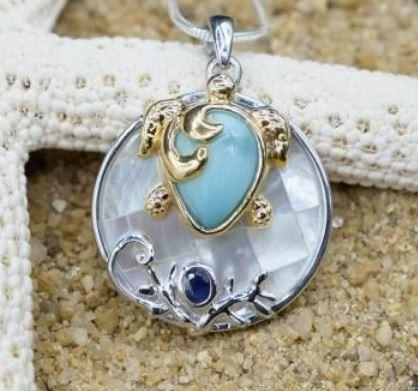 One of a Kind Necklace-Sea Turtle Pendant necklace with Larimar, Lapis Lazuli and Mother of Pearl Mosaic-Coastal Passion