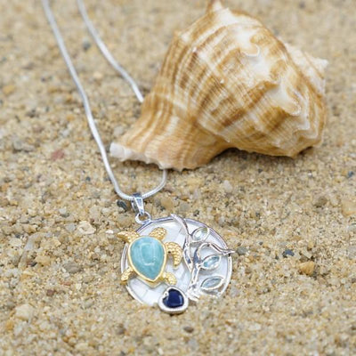 One of a Kind Necklace-Sea Turtle Pendant Necklace with Larimar, Lapis Lazuli, Blue Topaz and Mother of Pearl Mosaic-Coastal Passion